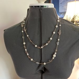 Vintage Carolee Pearls, Rhinestones, Long Necklace